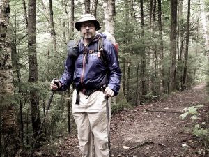 Section Hiker founder Philip Werner in his office (carrying a lighter pack)