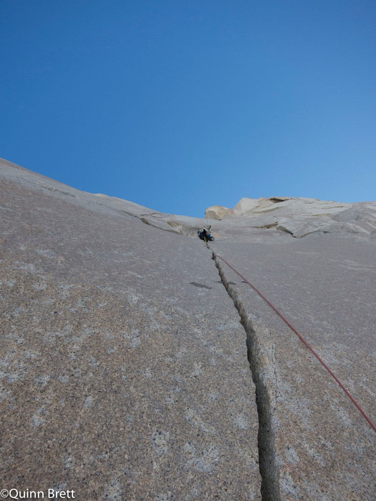 """This is the type of crack that is known as a """"splitter""""--a crack that cleanly splits the face of a wall. Climbers covet first ascents of these types of cracks."""