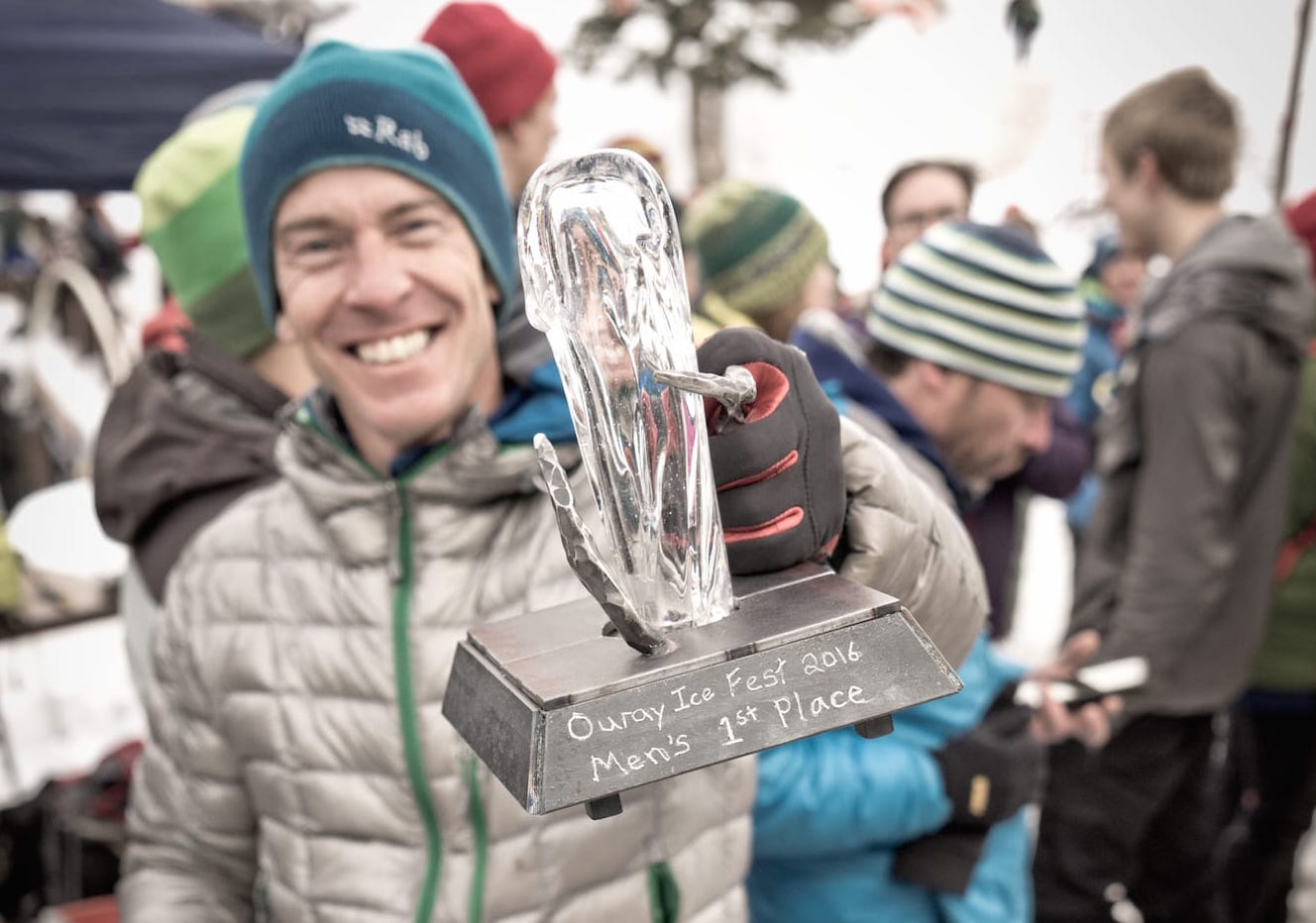 2016 Ouray Ice Festival climbing competition winner poses with his first place trophy.