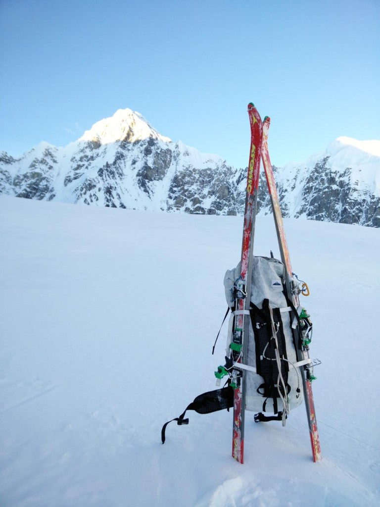 Kurt Ross' Ice Pack with ski modifications and his skis (now lost in the snow on the glacier).