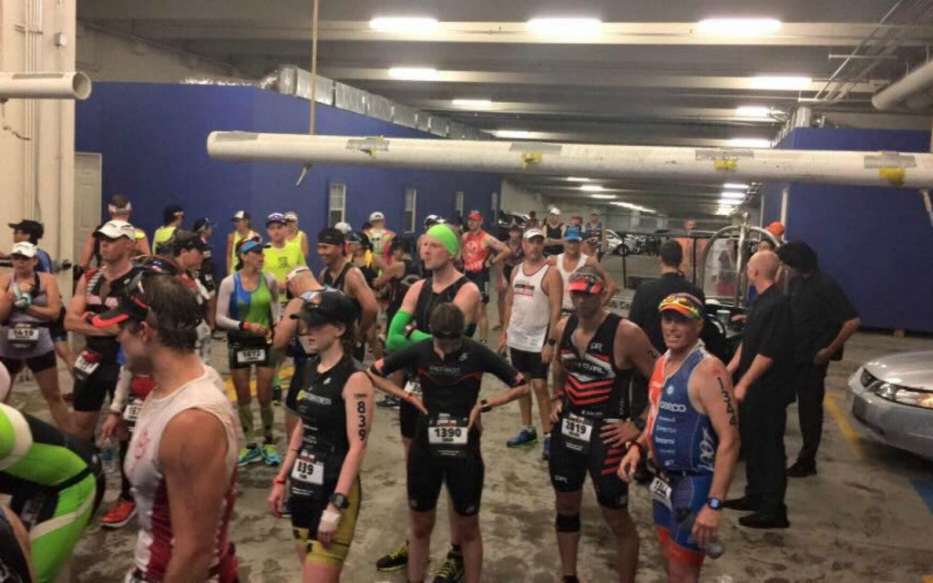 Kim sheltering from storm IronMan Texas 2016