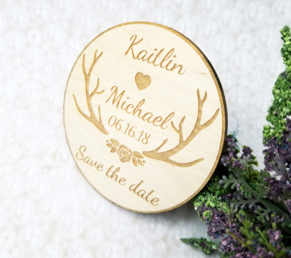 birch wood personalized save the date