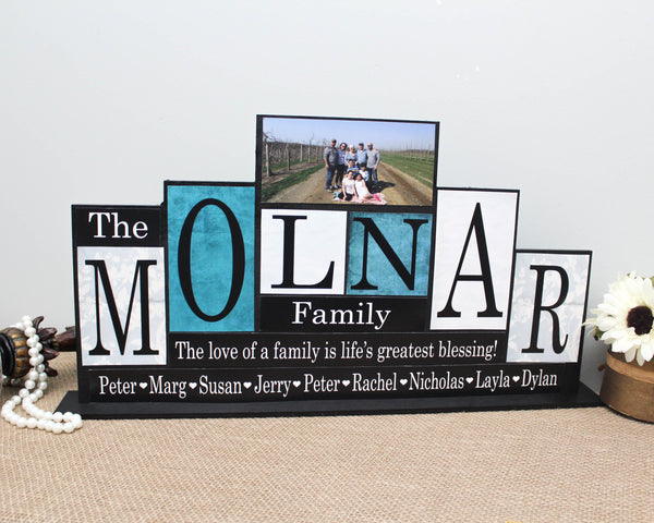 Family Name Wood Sign Customized with Family Photo