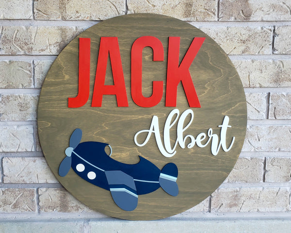 Vintage airplane nursery decor circle sign personalized with child's name