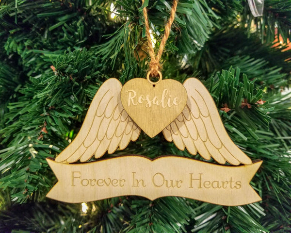 Personalized Angel Wings Christmas Memorial Ornament