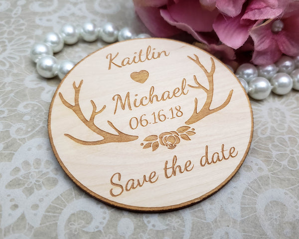 Rustic wedding save the date magnets personalized in wood