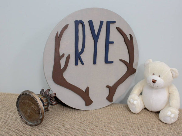 Antler Nursery Name Sign