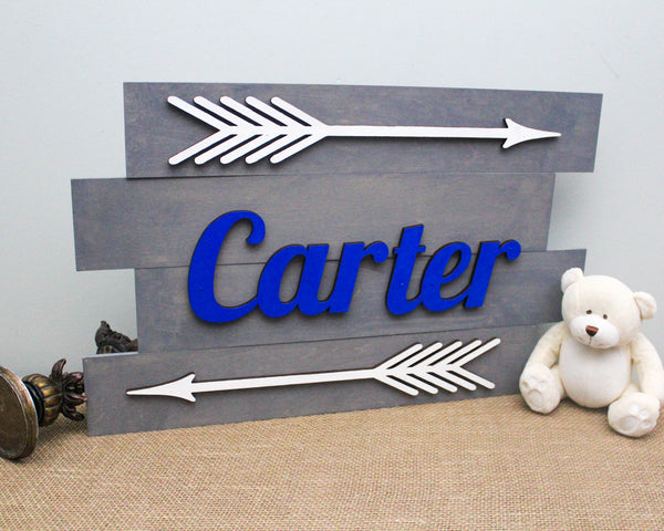 Wooden Pallet Nursery Name Sign with Arrows