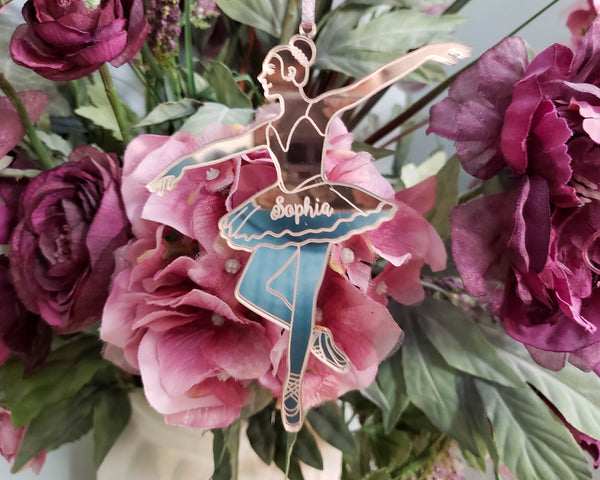 Ballerina Ornament personalized with name laser cut in mirror