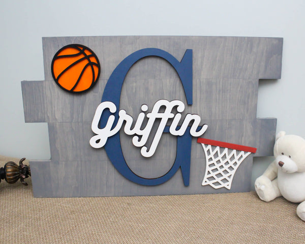 Basketball Nursery Name Wood Pallet Sign