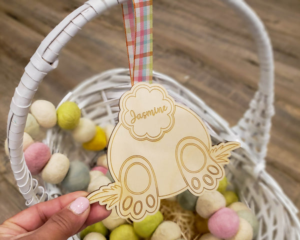 Easter Bunny Personalized Wooden Gift Tag, Easter Place Setting