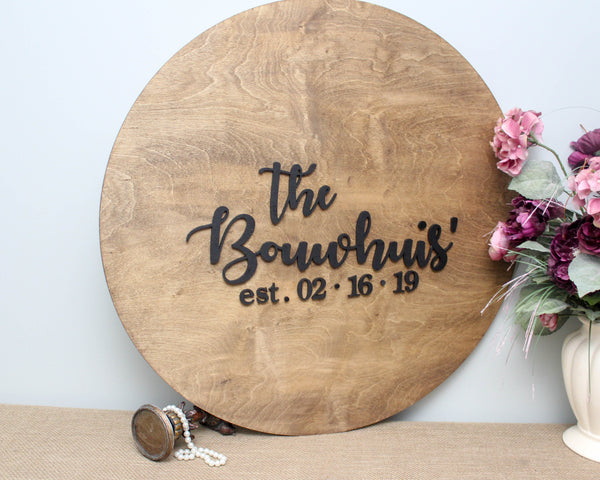 Wedding guestbook alternative round sign personalized with family name and established date