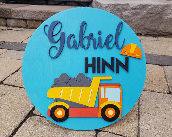 Construction Nursery Kids Name Sign