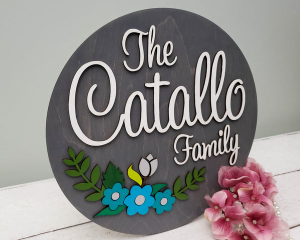 Personalized Family Name Round Wooden Sign with Established Date