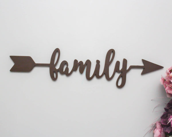 Family Arrow Wood Sign