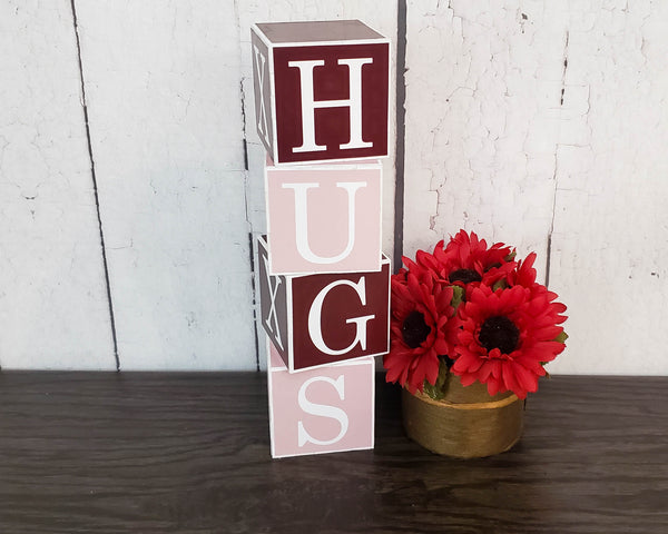 Valentine Day Gift, Love ~ Hugs, XOXO, Kiss Wood Decor