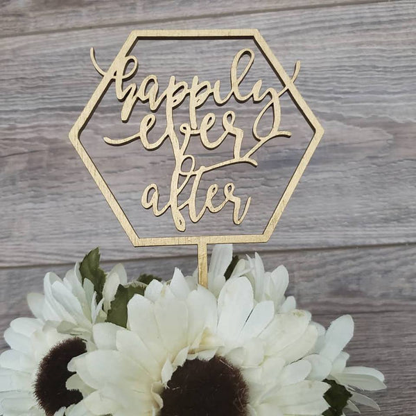 Happily ever after wedding cake topper customized in wood