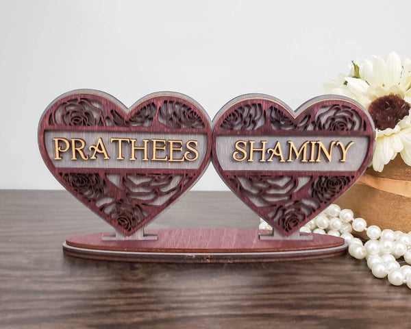 Personalized Split Double Hearts With Names Frame