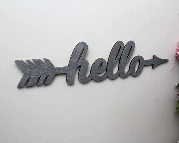 Hello Wood Arrow Sign