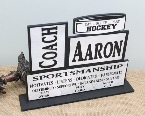 Hockey coach personalized thank you gift for end of season