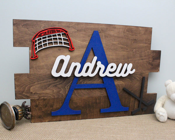 Hockey themed wall name sign