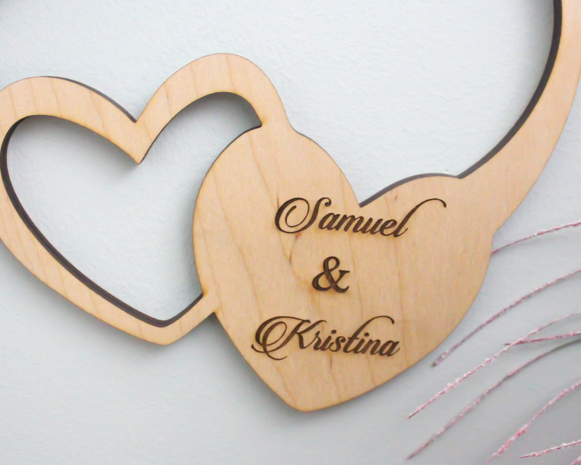 Personalized infinity sign with names and date for engagement photo shoot