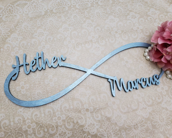 Infinity sign with couples name painted in your choice of colour