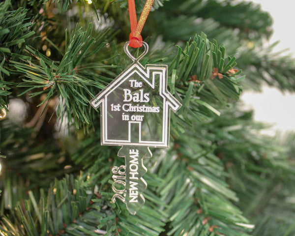 Key shaped first Christmas in new home ornament in wood & acrylic