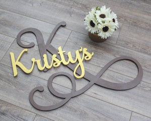 Large Wooden Script Initial and Name Sign | Wall Art Decor