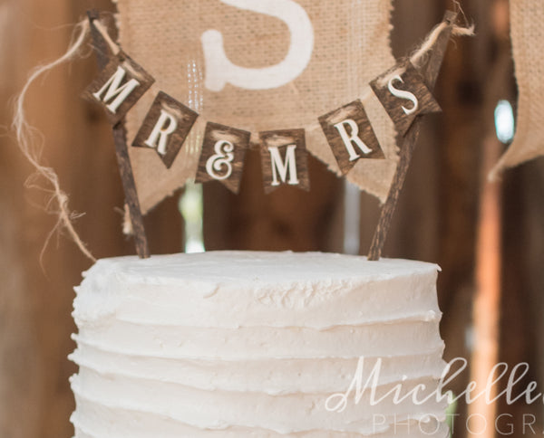 Pennant style wood Mr & Mrs cake topper for rustic wedding