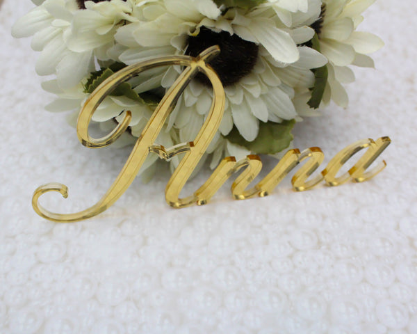 Gold Mirror Place Name Card Signs