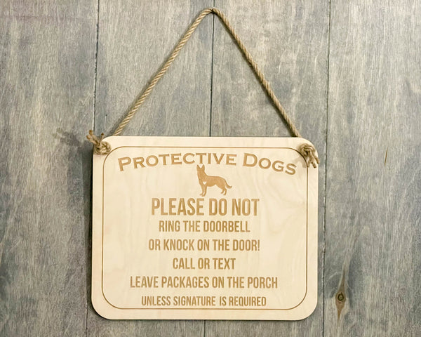 Protective Dog Don't Ring The Bell Sign