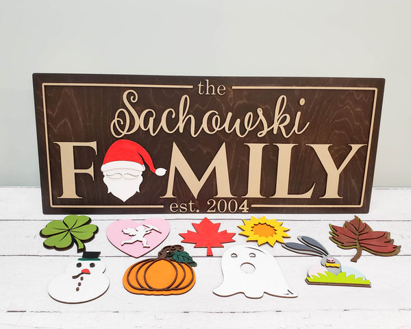 Family Name Established Sign With All Seasons Interchangeable Inserts