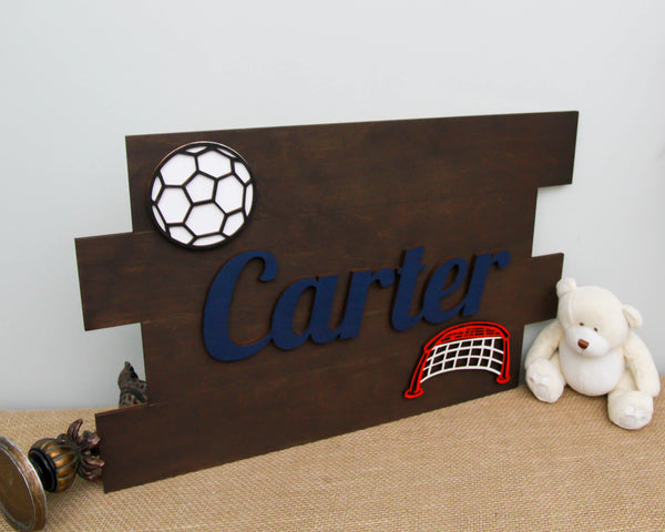 Soccer themed pallet name sign for kids room decor