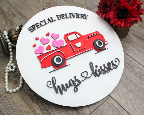 Valentines Day Vintage Truck wtih hearts