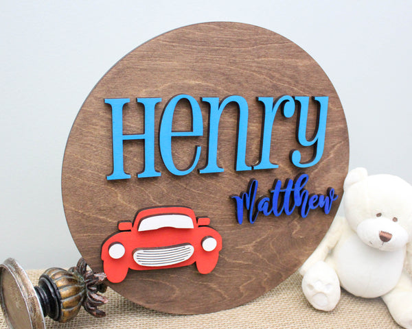 Round name sign with vintage car for boys room decor