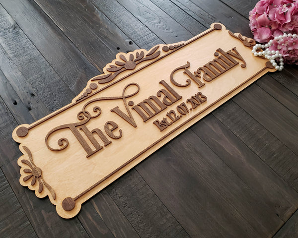 Last Name Established Sign Personalized Wedding 3D Family Name Sign