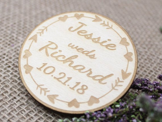 Boho save the date magnets personalized in wood