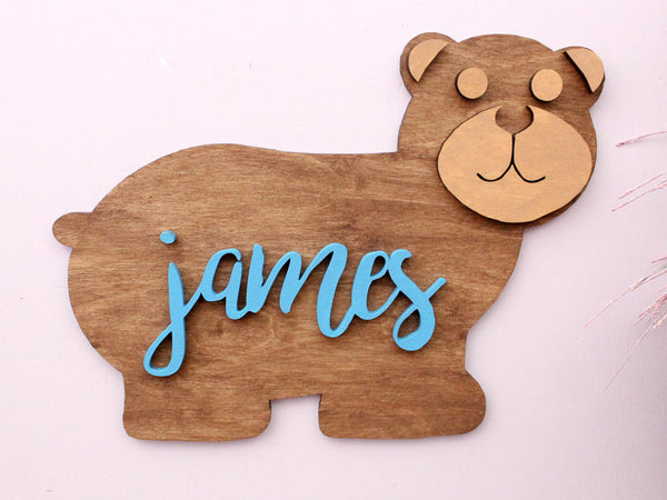 Baby Bear Woodland Nursery Decor Personalized with Baby Name
