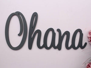 Ohana teal wooden wall art