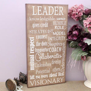 Leadership Characteristics Canvas Sign  | Wall Art Decor