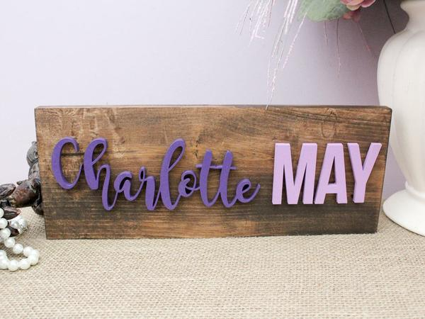 Wood Name Plaque For Kids Room Decor