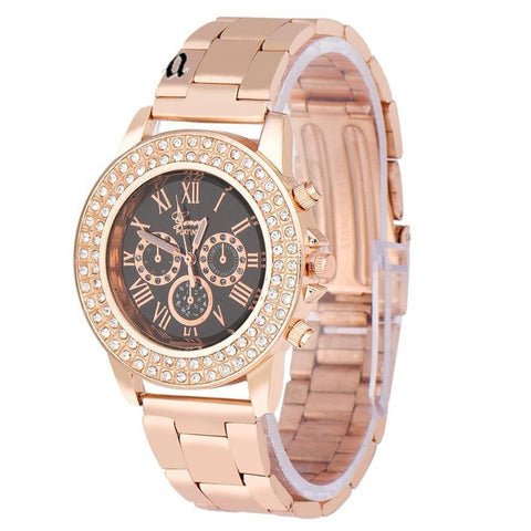 Smilelee 2017 New Fashion Designer Women Luxury Rose Gold Watch Women Brand Watches Chain Women Dress Watch Quartz Ladies Watch