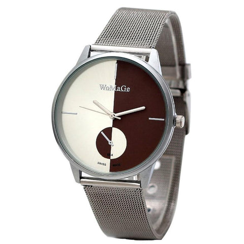 Smilelee New montres femme Casual Classic Mens Stainless Steel Mesh Quartz womens silver mesh watches