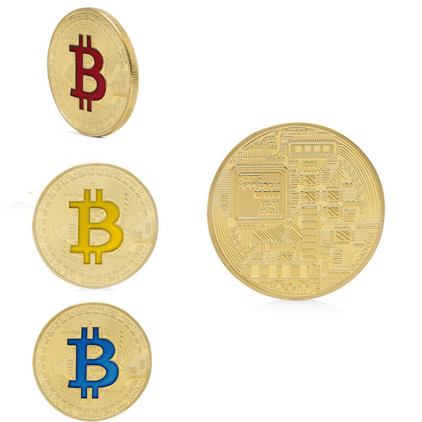 1 PCS Bitcoin Gold Plated Titan Commemorative Coin Collectible Physical IN CASE