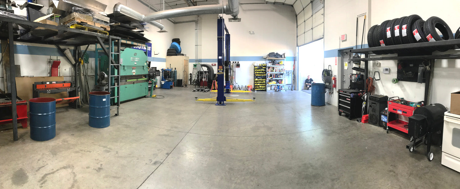 On this side of the shop we install lift kits, install leveling kits, install bumpers, install lights, mount rims, mount tires, press brake sheet metal, bend sheet metal, wire accessories, wire lights, wire amp steps