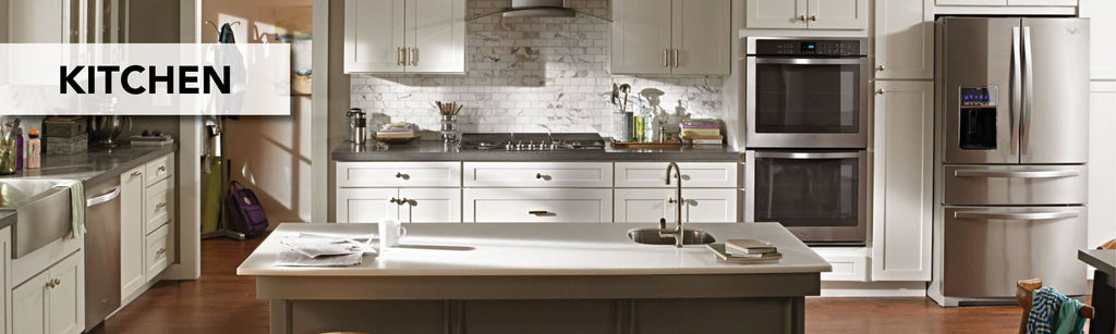 An image of a kitchen with granite countertops. The word Kitchen is written over the photo.