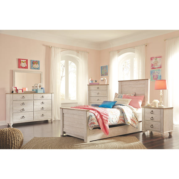 Willowton 8 Piece Twin Bedroom Set w/Chest - Whitewash