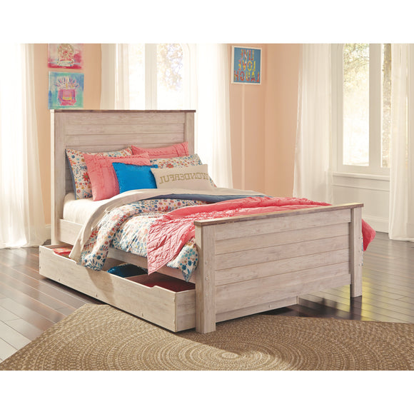 Willowton Full Panel Bed w/Under Bed Storage - Whitewash
