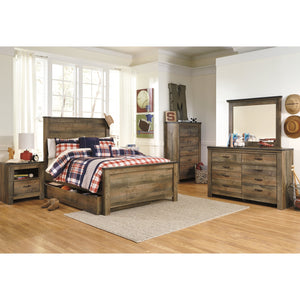 Trinell 9 Piece Twin Bedroom Set w/Under Bed Storage - Brown